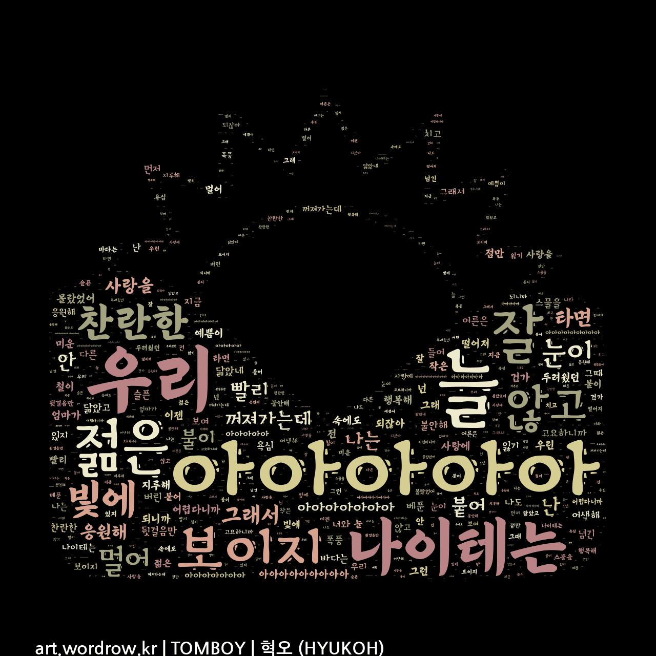 워드 클라우드: TOMBOY [혁오 (HYUKOH)]-39